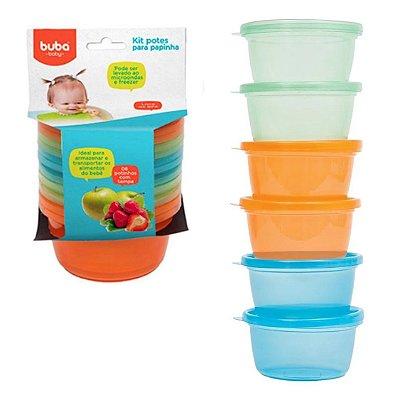 Kit 6 Potinhos Para Papinha Bebê Azul - Buba