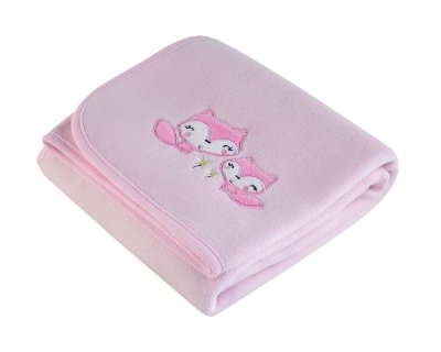 Manta Bebê Fleece Bordada Rosa Lepper
