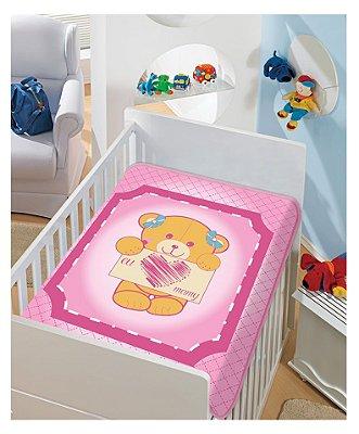 Cobertor Bebê Pink Eu Amo Mamãe 0,90 x 1,10m Jolitex