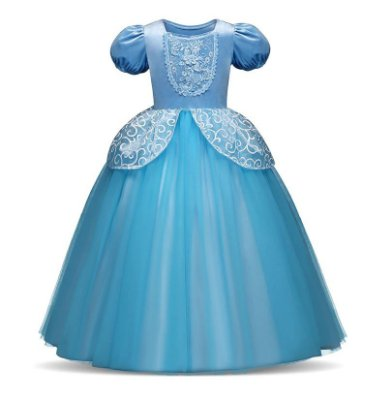 Vestido Fantasia Infantil Cinderela Azul Luxo