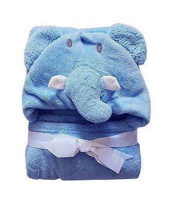 Manta Com Capuz Baby Elefante Azul Jolitex