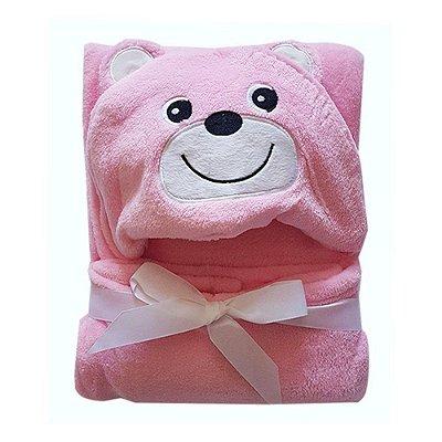 Manta Com Capuz Baby Ursinha Rosa Jolitex
