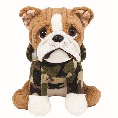 Pelúcia Cachorro Bulldog Militar 22cm Buba