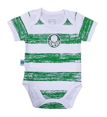 Body Bebê Palmeiras Listras Manga Curta Oficial