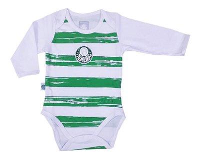Body Bebê Palmeiras Listras Manga Longa Oficial