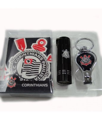 Kit Corinthians Com Chaveiro Lanterna e Cortador de Unha