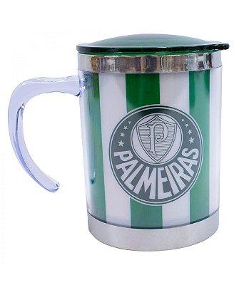 Caneca Térmica Com Tampa Palmeiras Verde e Branco 450ml