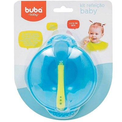 Kit Pratinho e Colher Bebê Bowl Azul Buba