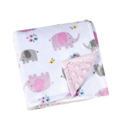 Manta Fleece Dupla Face Estampada Rosa Lepper