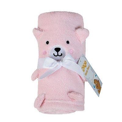 Manta Bebê Fleece Bordada Ursinha Rosa Lepper