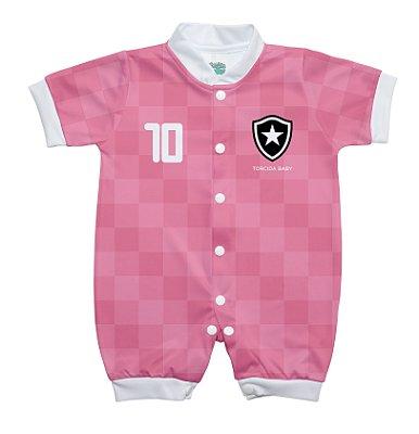 Macacão Bebê Botafogo Curto Rosa - Torcida Baby