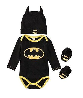 Kit Bebê Batman 3 Peças Manga Longa