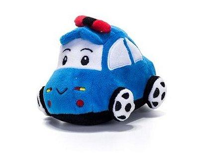 Carrinho Bebê Pelúcia Com Chocalho Azul Unik Baby