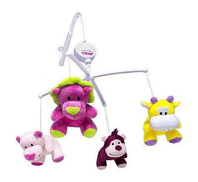Mobile Musical Para Berço Bichinhos Safári Rosa Unik Toys