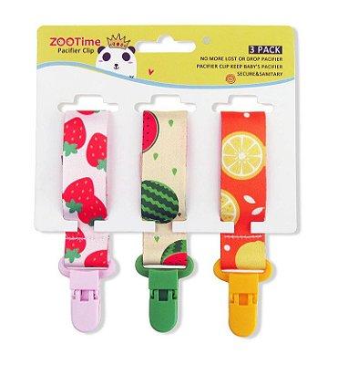 Kit Prendedor de Chupeta Com 3 Pçs Frutinhas