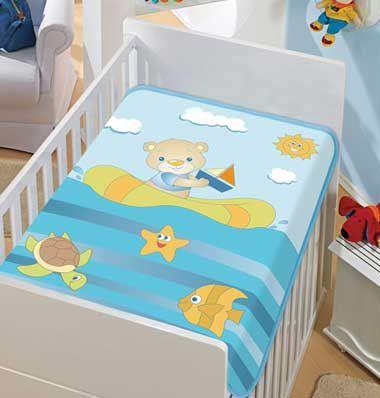 Cobertor Bebê Barquinho Azul 0,90 x 1,10m Jolitex