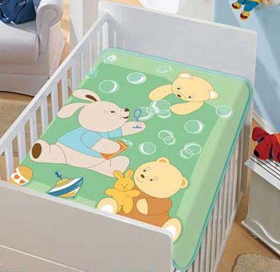 Cobertor Bebê Verde Bolinhas 0,90 x 1,10m Jolitex
