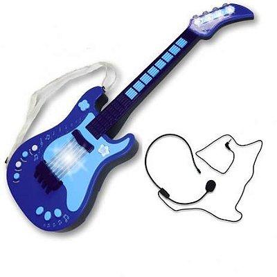 Guitarra Eletrônica Infantil Azul Unik Toys