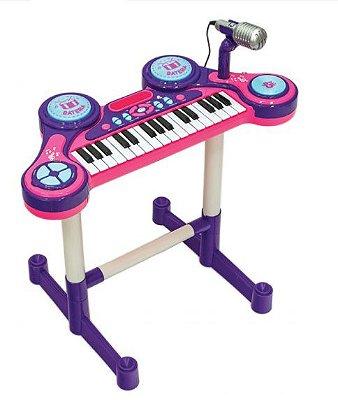 Piano e Teclado Eletrônico Infantil Lilás Unik Toys