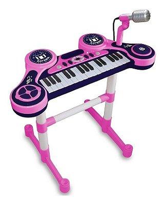 Piano e Teclado Eletrônico Infantil Rosa Unik Toys