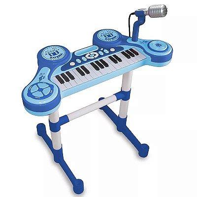 Piano e Teclado Eletrônico Infantil Azul Unik Toys