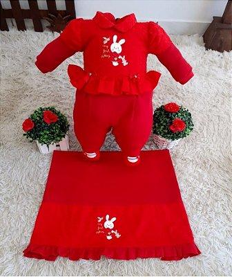 Saída Maternidade Vermelha Meninas Mundo Colorido