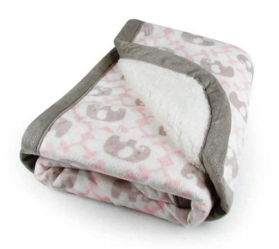 Cobertor Infantil Com Sherpa Elefantinho Rosa Laço Bebê