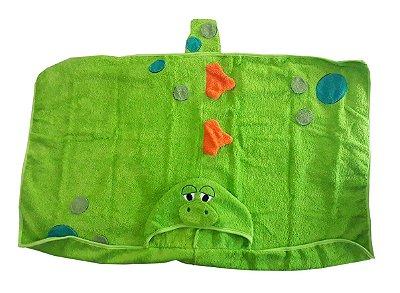 Toalha de Banho Divertida com Capuz Dino Laço Bebê