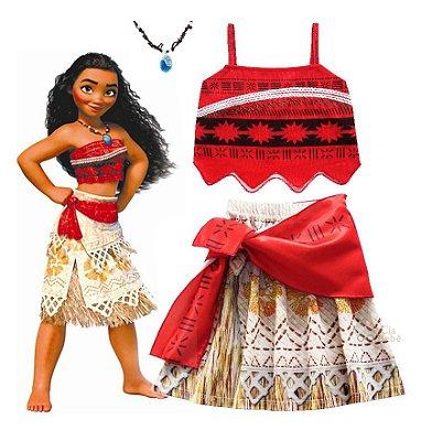 Fantasia Infantil Princesa Moana com Colar e Laço