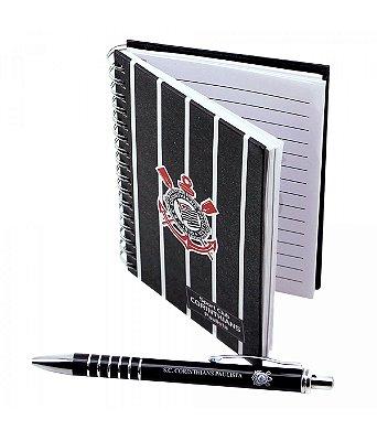 Kit Corinthians Com Caderno e Caneta Oficial