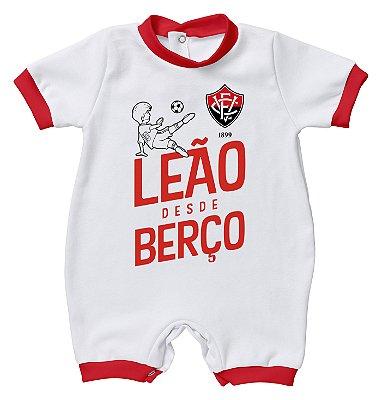 """Macacão Bebê Vitória """"Leão Desde Berço"""" - Torcida Baby"""
