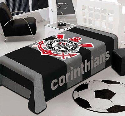 Cobertor Corinthians Stadium Solteiro Jolitex 1,50 x 2,20m