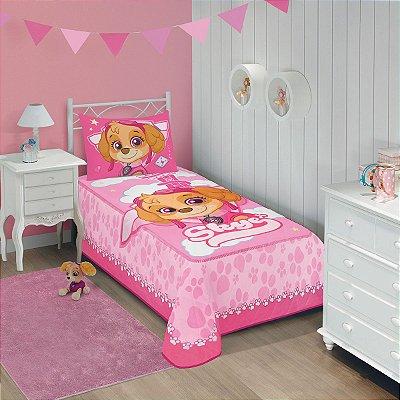 Colcha Infantil Matelassê Patrulha Canina 1,50m x 2,10m Pink 1 Pç - Lepper