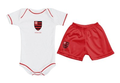 Kit Bebê Flamengo com Body e Shorts Torcida Baby