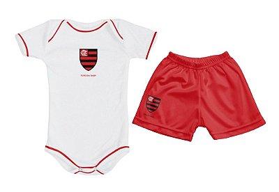 Kit Bebê Flamengo com Body e Shorts Torcida Baby