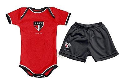 Kit Bebê São Paulo com Body e Shorts Vermelho Torcida Baby