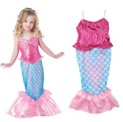 Vestido Fantasia Infantil Sereia Rosa