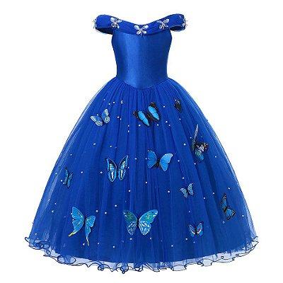 Vestido Fantasia Infantil Cinderela Azul Borboletas Luxo