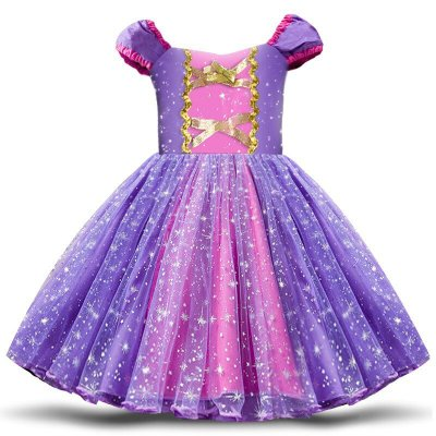Vestido Fantasia Infantil Rapunzel Luxo