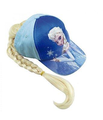 Boné Infantil Azul Elsa Com Trança Frozen