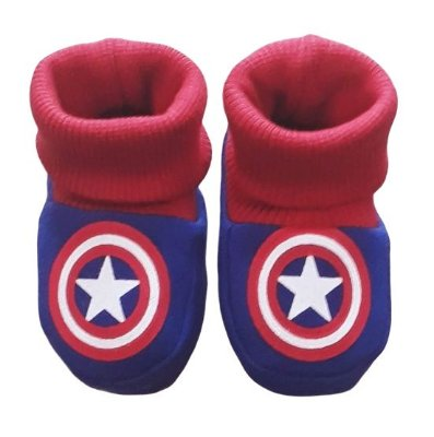 Pantufa Meia Bebê Moletom Capitão América