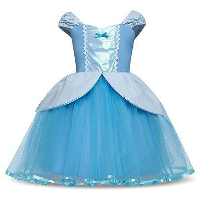 Vestido Fantasia Infantil Cinderela Luxo Azul Claro