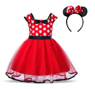 Vestido Fantasia Minnie Vermelho Com Tiara