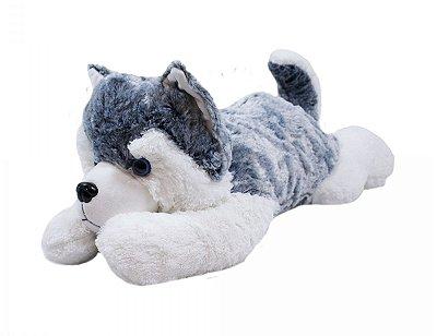 Cachorro Pelúcia Husky Deitado 58cm