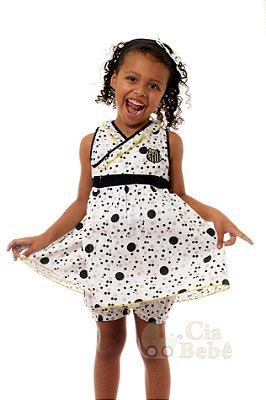 Vestido Bebê Infantil Santos com Shorts e Tiara Oficial