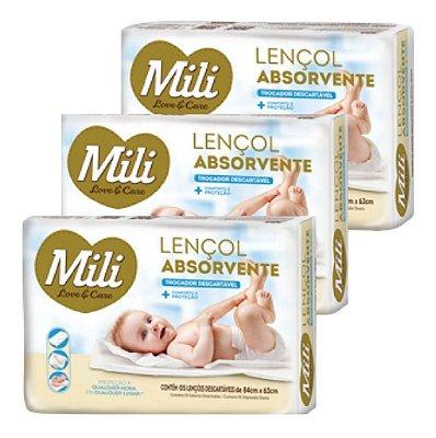 Lençol Absorvente Descartável Trocador Baby Mili 15 Unid