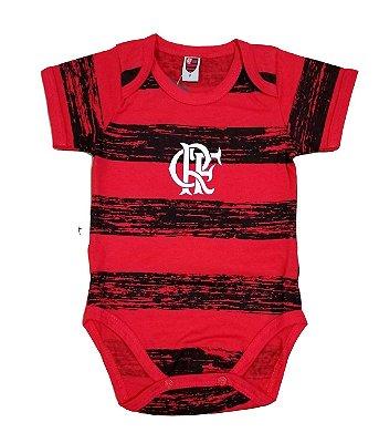 Body Bebê Flamengo Listras Manga Curta Oficial