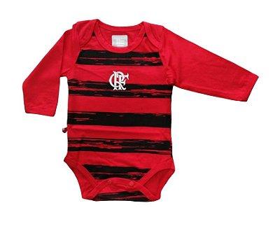 Body Bebê Flamengo Listras Manga Longa Oficial