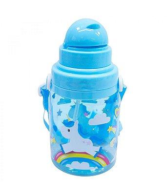 Garrafa Plástico Infantil Unicórnio Azul 600ml