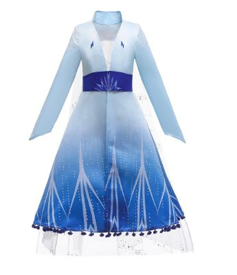 Vestido Fantasia Infantil Elsa Frozen 2 Luxo Azul